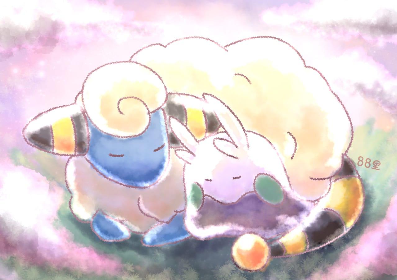 メリープヌメラ Illust of 88里 ヌメラ ワンドロ モフモフ pokemon メリープ