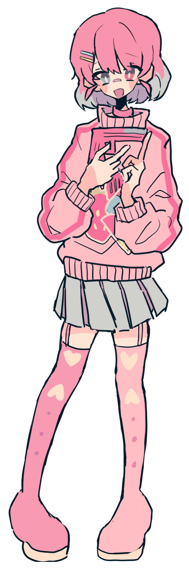 OC Illust of mutak medibangpaint girl oc pink