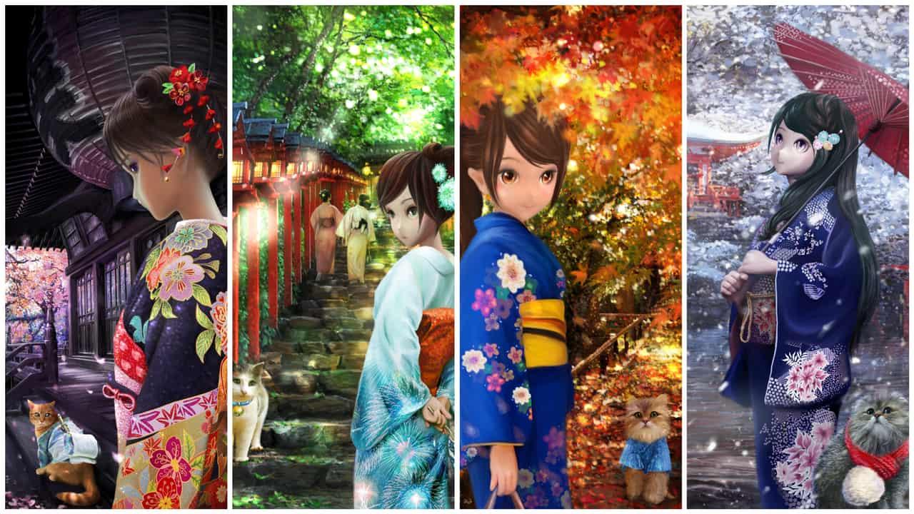 京都四季 Four seasons in Kyoto | 愛畫畫的沐娜 munadrawing Illust of muna Kyoto_Award2020_illustration girl painting digital illustration cat cute