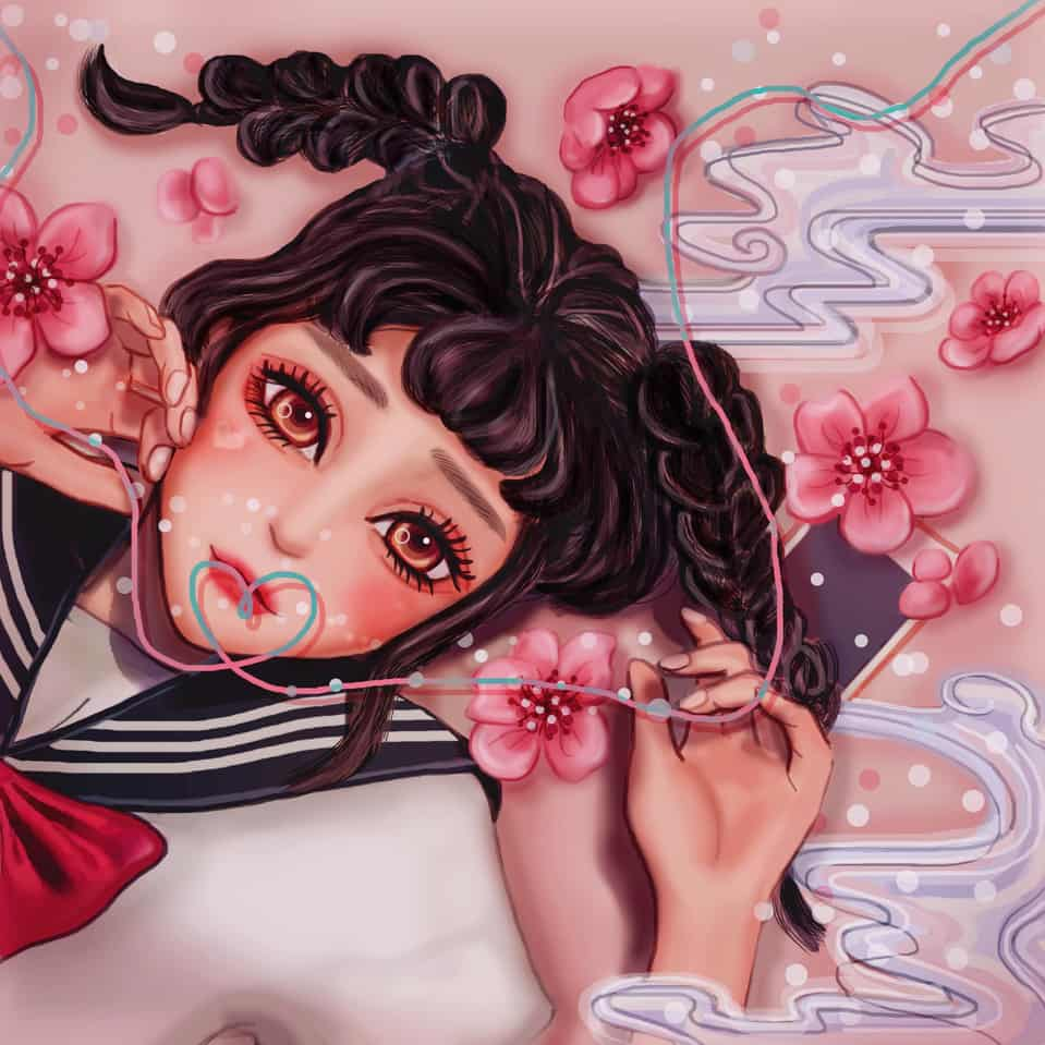 Cherry Blossom Girl Illust of 汎汎 fantasy April.2020Contest:Color girl 粉紅 Dreams art sakura CherryBlossom street cute