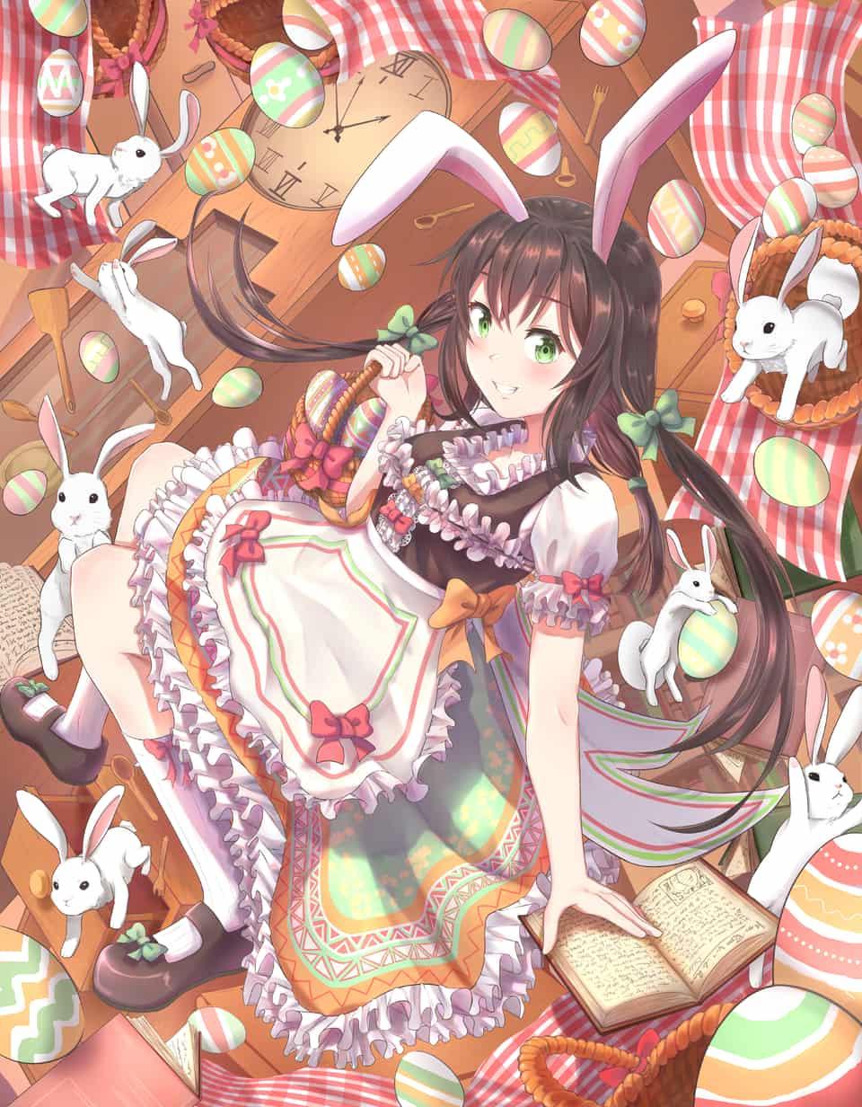 EASTER  EGG  Illust of MISOTO_MNW March.2020Contest:Easter oc girl dress rabbit