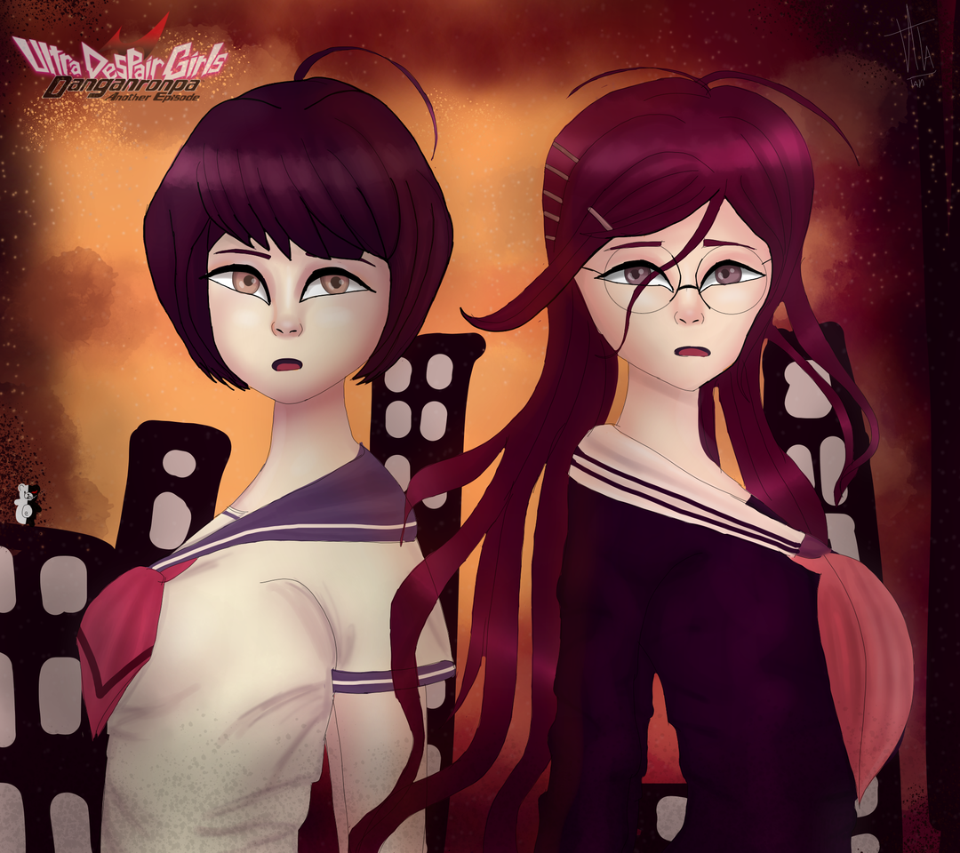 Komaru and Toko. Danganronpa Illust of 𝕍𝕀𝕋𝔸🖌 medibangpaint girls anime Danganronpa