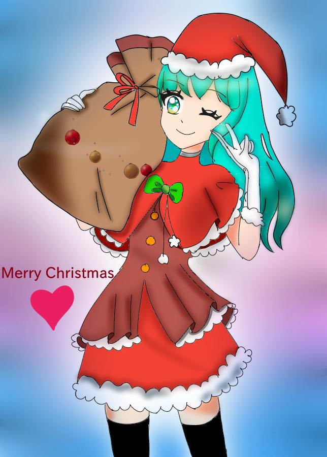 Merry Christmas  Illust of {Boba Leaf}🌿 December2020_Contest:Santa Christmas cute animegirl medibangpaint