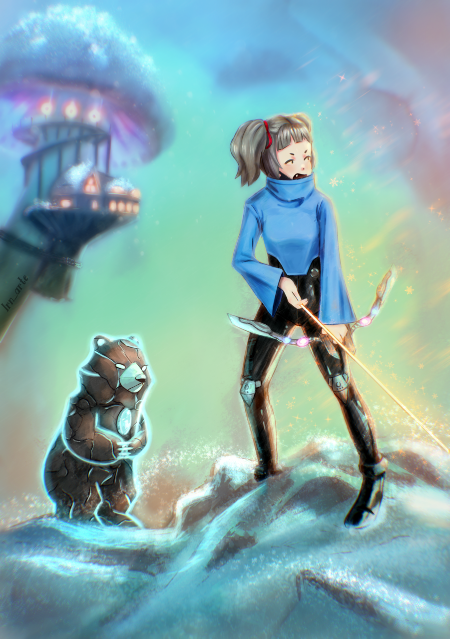 Target  Illust of lrnart97 fantasy February2021_Fantasy girl bear drawing blue colorful cute