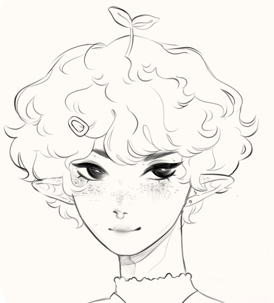 quick warmup Illust of h o ɳ e y d e w ☻︎ twotoned dead hair