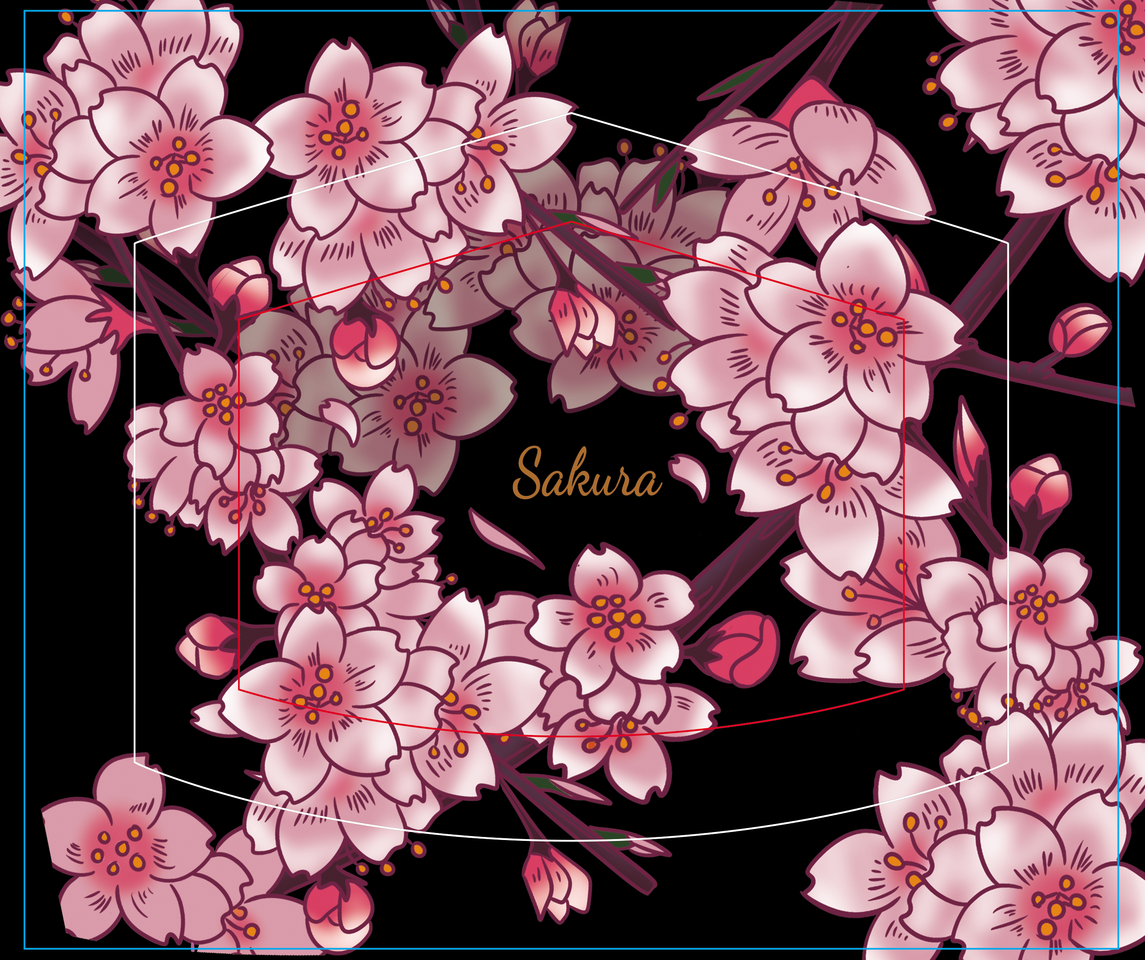 SAKURA Illust of DANNARTWORK MaskDesignContest pink sakura rosado flor flowers dreaw illustration cerezo cherry ilustration
