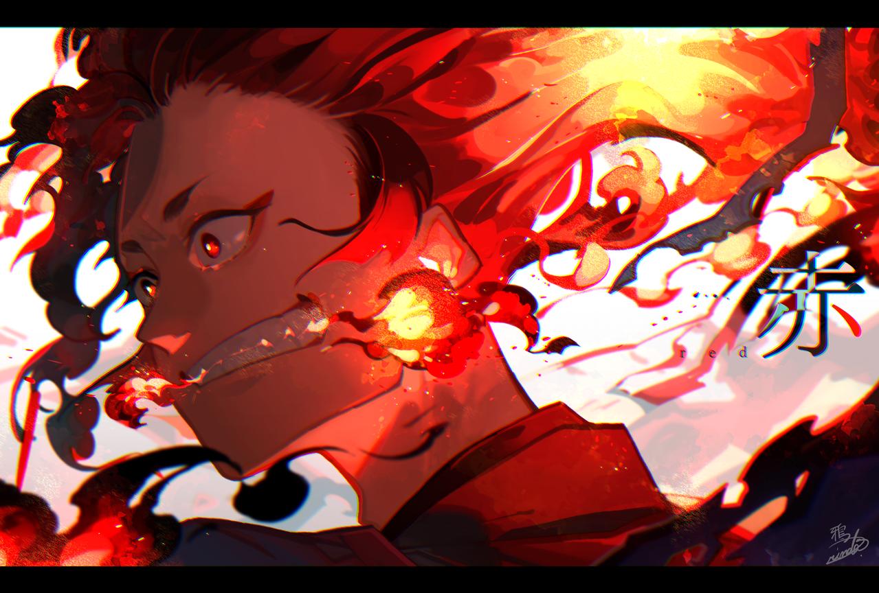 Red Illust of 鴉羽 凛燈 medibangpaint 炎 red original 色×属性