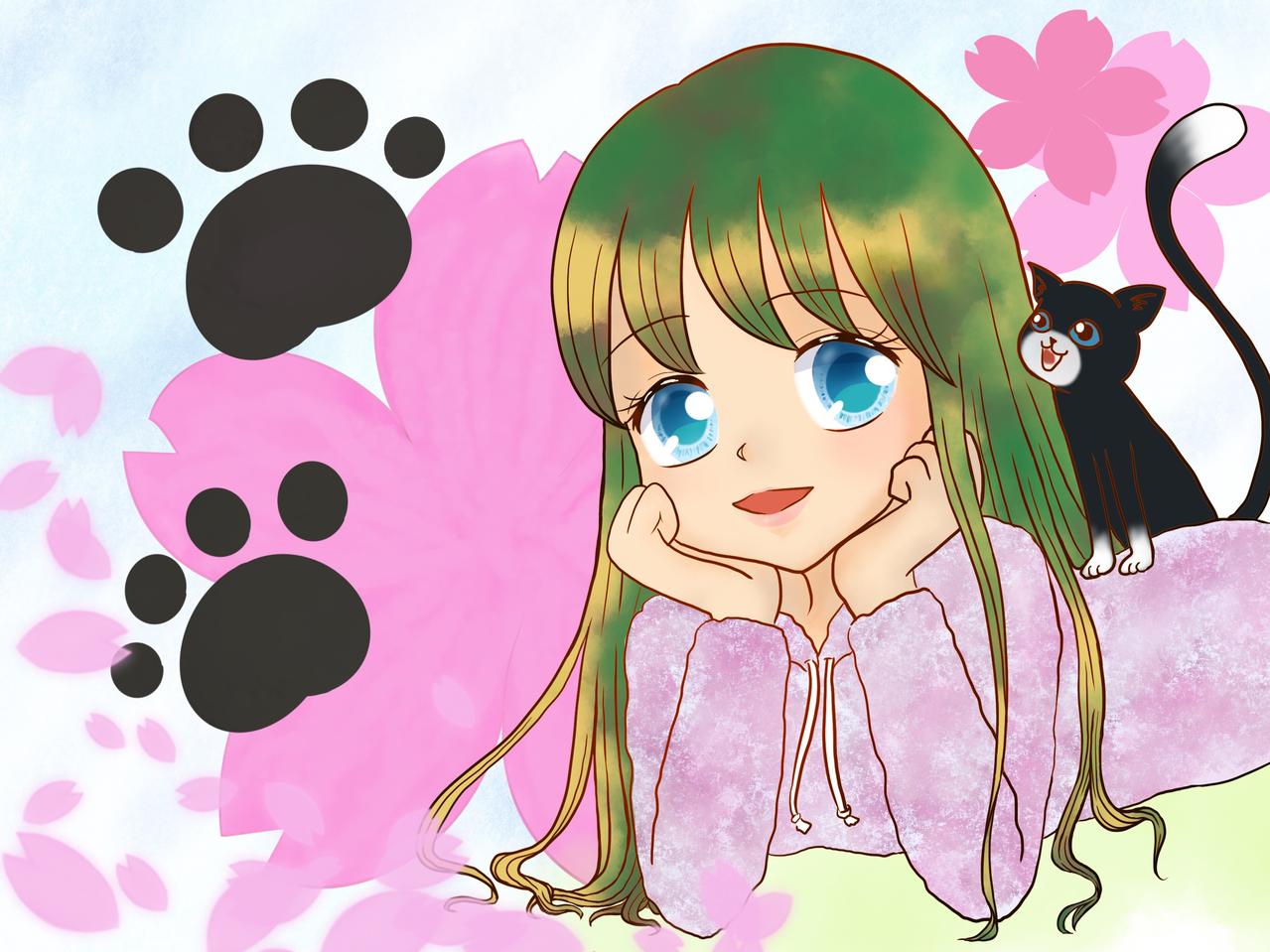 猫と桜と女の子 Illust of chiwo January2021_Contest:OC sakura cat 肉球 春 girl oc