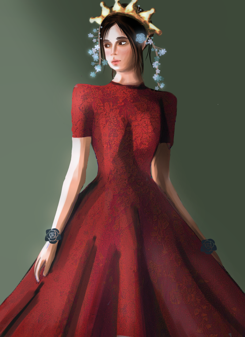 Character of william shakes speare - lady macbeth Illust of Allelee zen MasterpieceFanart grayscale red Try dress queen