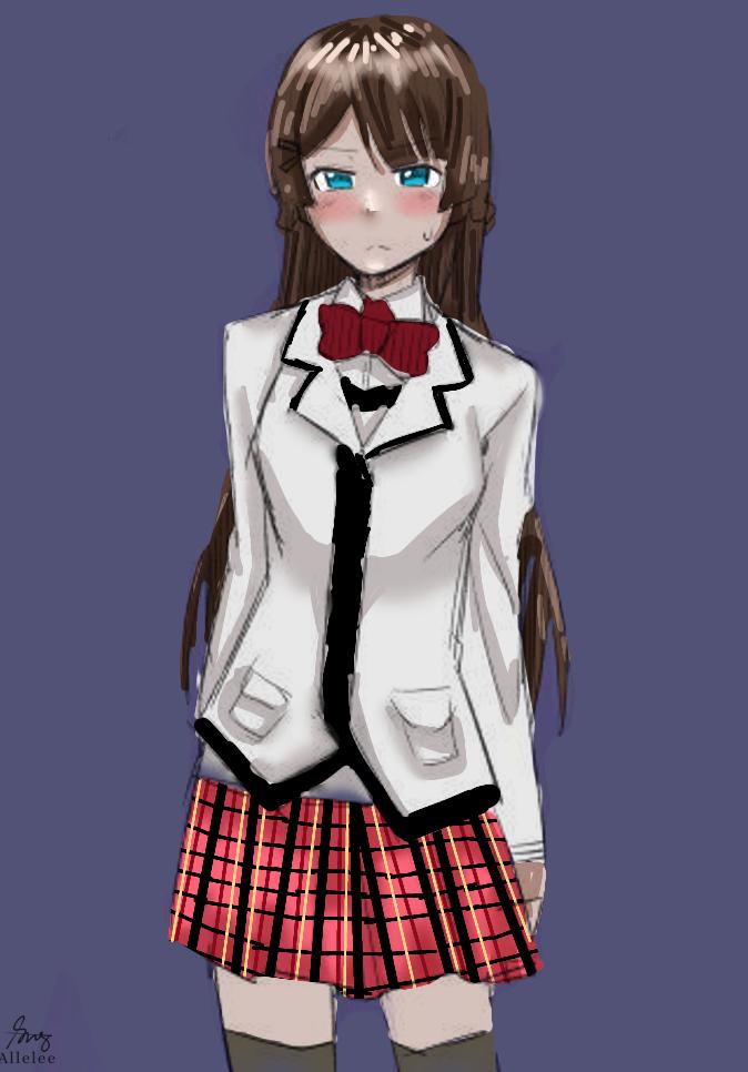 Illust of Allelee zen medibangpaint girl longhair brownhair kawaii cute student blueeyes shy