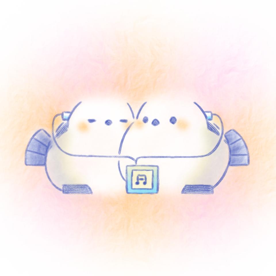イヤホン。 Illust of 兎卯子 小鳥 original とり シマエナガ digital 小動物