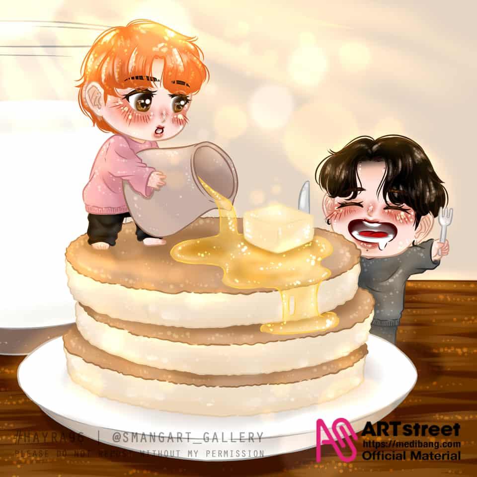 Mama Jin and Baby Jungkook Illust of Hayra96 tracedrawing3rd cute art hayra96 Jungkook Jin chibi smangartgallery BTS
