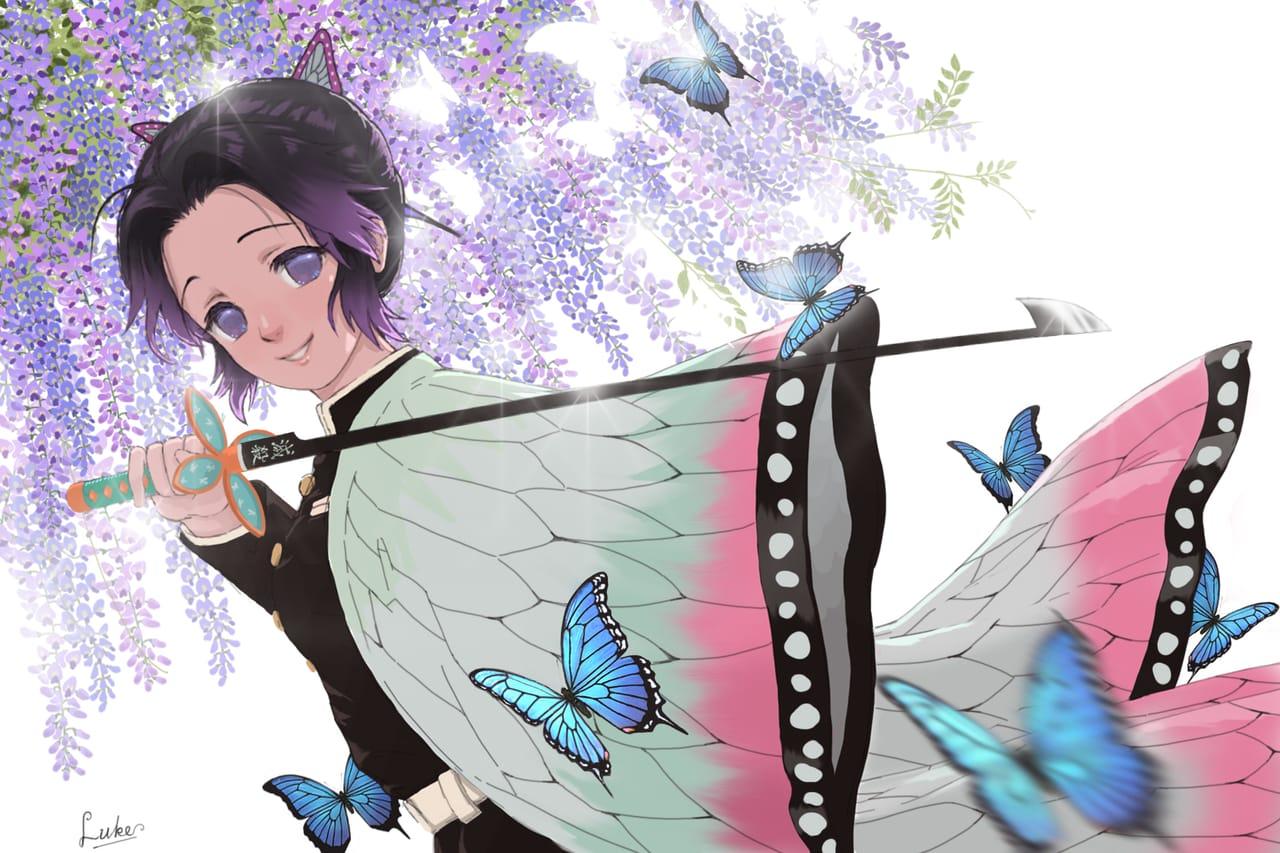 + 胡蝶しのぶさん + Illust of Luke uehara KimetsunoYaiba girl KochouShinobu butterfly 藤の花
