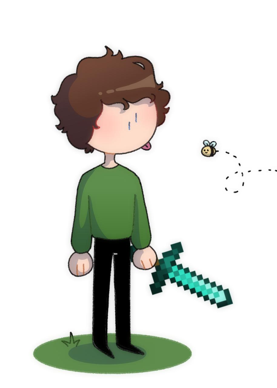 Tubbo! Illust of 🔷 Moon 🔷 medibangpaint tubbo Minecraft YouTube sword boy minecraftsword cute bee brownhair green