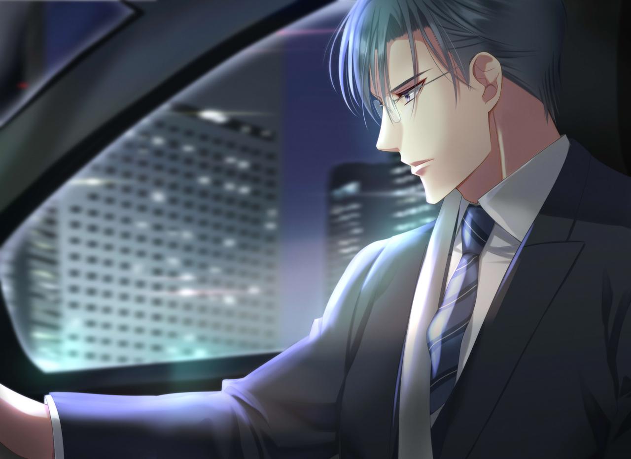 夜を駆ける Illust of 瑠璃森 しき花(元izumi) 横顔 suit 夜景 car female ドライブ 青年 美形 handsome glasses