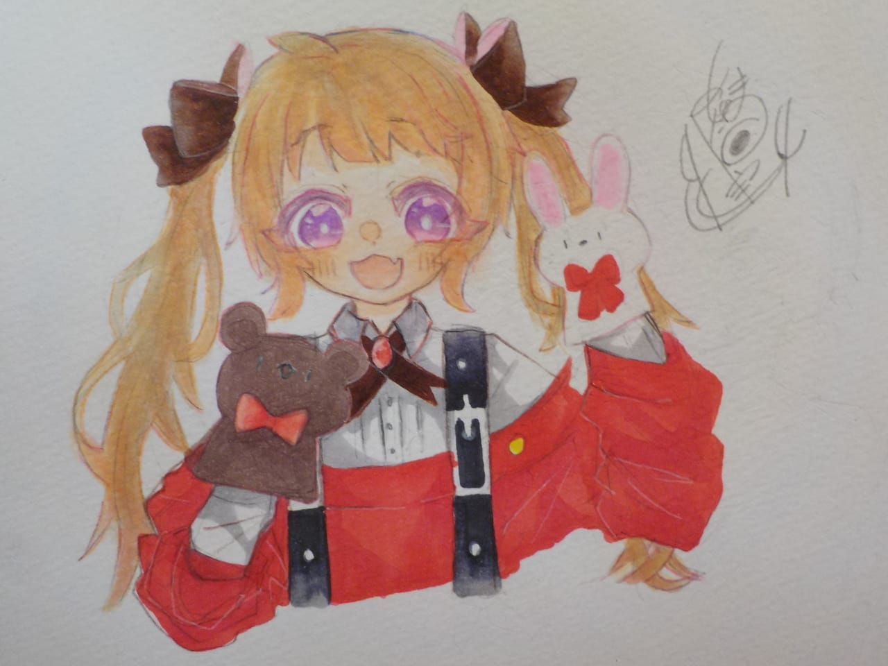 くまうさ!!!お人形劇 Illust of めだまやき#中2病 Copic angel AnalogDrawing Doll chibi アナログ くま丸。 代理ちゃん kawaii