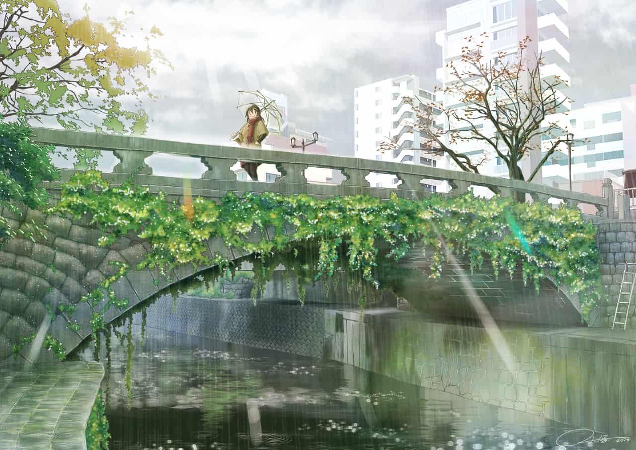 明八橋 Illust of ふじいえだいご background original 橋 rain scenery