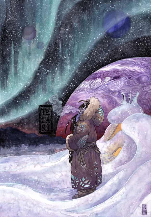 The Great Lake Illust of Telari sci-fi snow watercolor aurora purple starry_sky planet winter