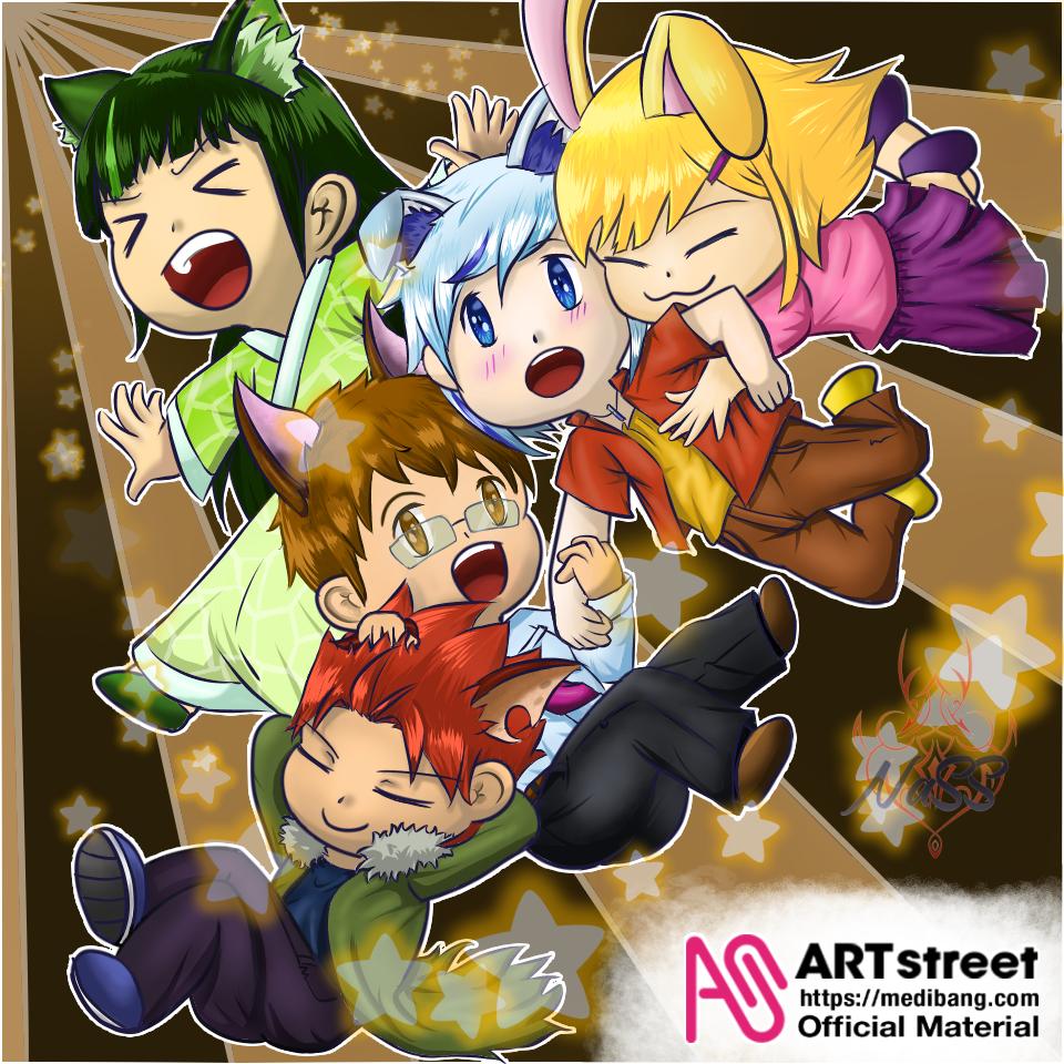 なかま Illust of NaSS11 tracedrawing3rd fox cat Trace&Draw【Official】 friendship iPad_raffle NaSS