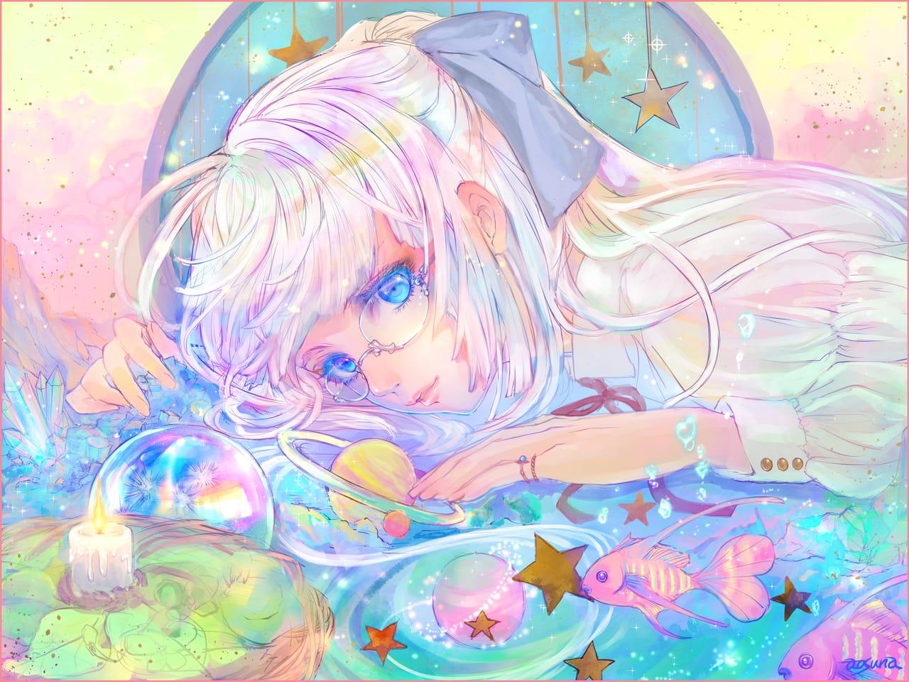 夢色夢 Illust of 青砂時計 fantasy February2021_Fantasy girl Imagination original glasses pastel