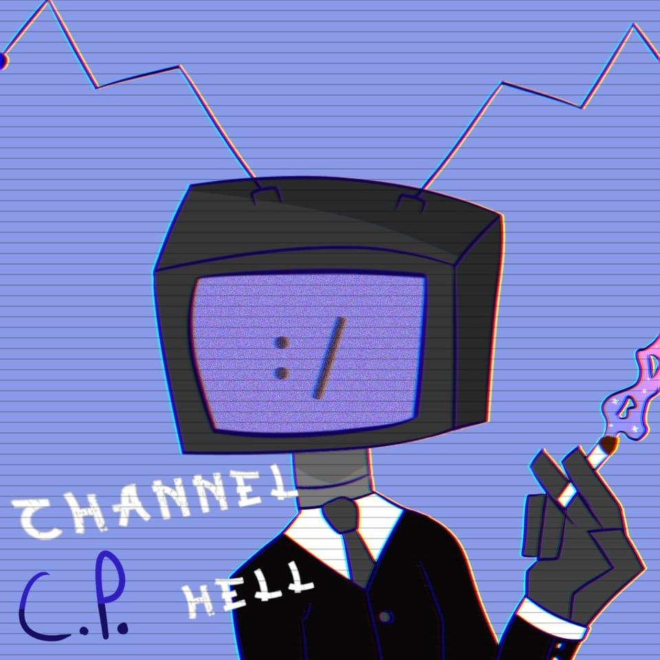 Character I wanna make in a comic or smth idk- Illust of Creampuffu ☹ै cartoon digital tvhead aesthetic purple oc ibispaint originalcharacters
