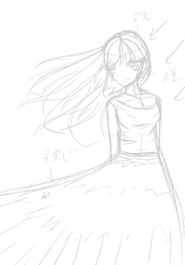 星空下的少女 FT: Star Illust of 神祕的星彩star 夜空 girl 星星 cute sky 訓練背景 oc