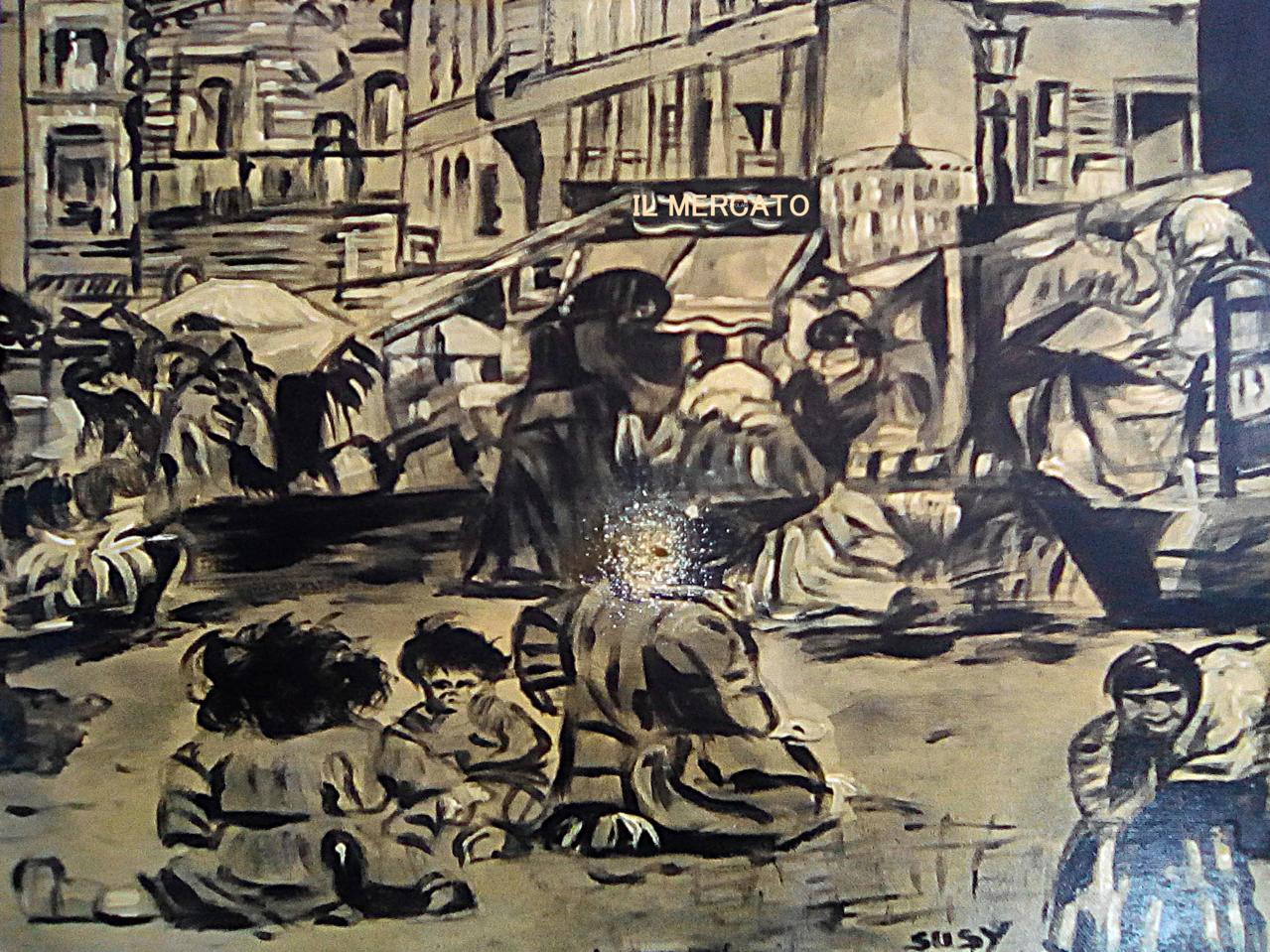 The market Illust of Grandicelli Susanna history May2021_Monochrome pittura antiquariato digitale acrilica