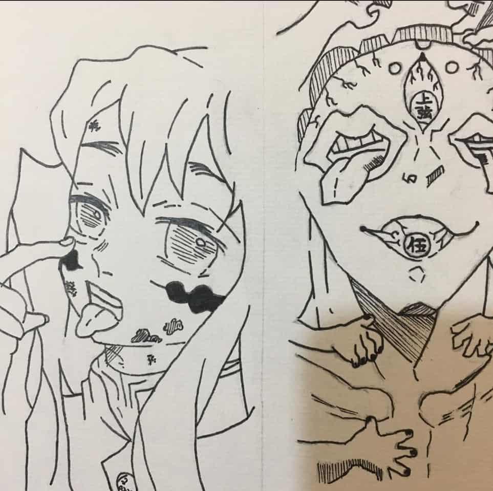 霞柱無一郎與上弦五玉壺 Illust of Gary DemonSlayerFanartContest KimetsunoYaiba
