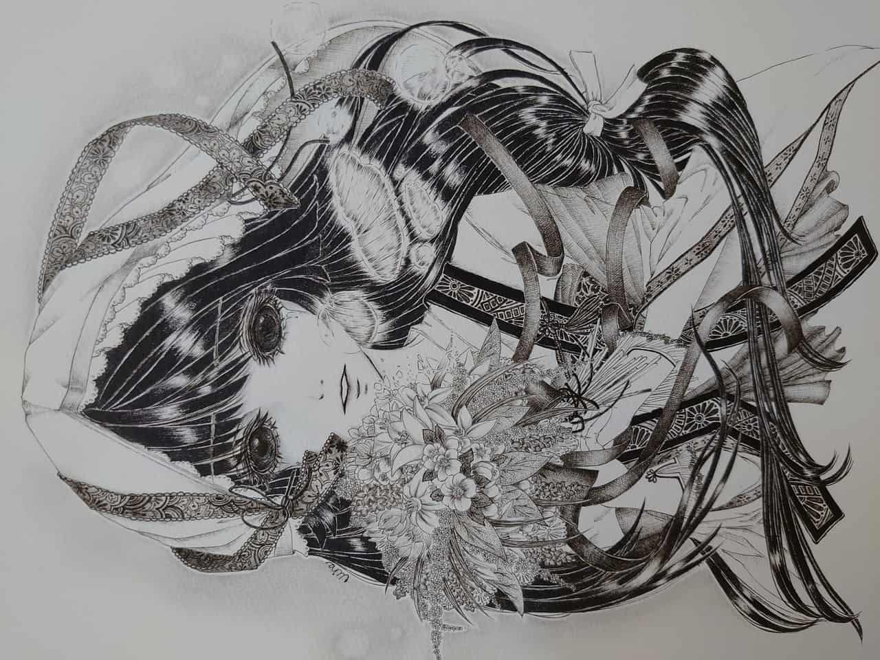 雪女 Illust of Mine original kimono blackandwhite snow おんなのこ illustration monochrome flower oc