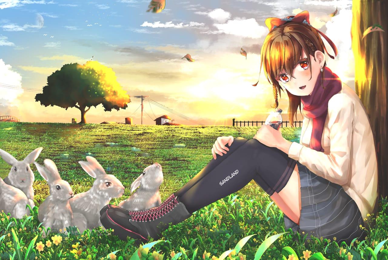 play with bunny Illust of sandland ART_street_Illustration_Book_Contest art girl Drawings anime drawing mangaart animegirl