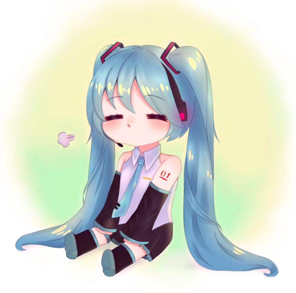 Hatsune Miku - fanart Illust of Haruka Art VOCALOID fanart pastel cute anime hatsunemiku miku kawaii chibi
