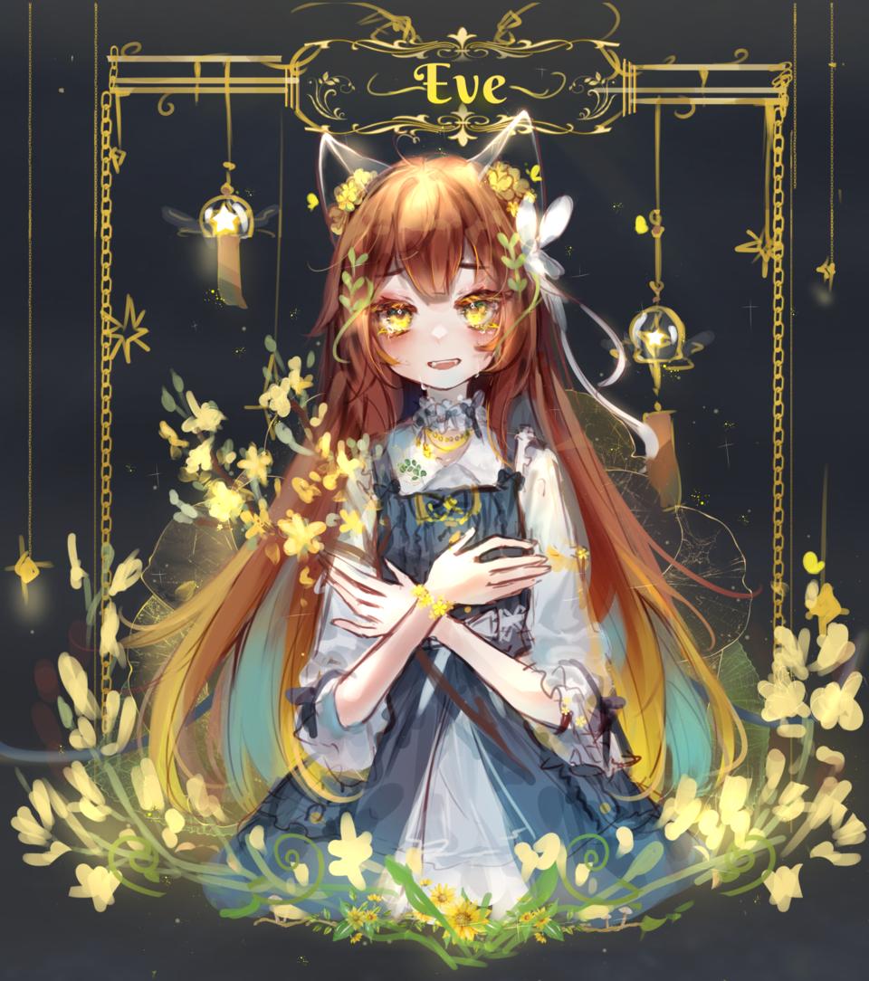 Blooming in the dark Illust of kurochi04 April2021_Flower anime girl fasion flower cute cat_ears Western yellow