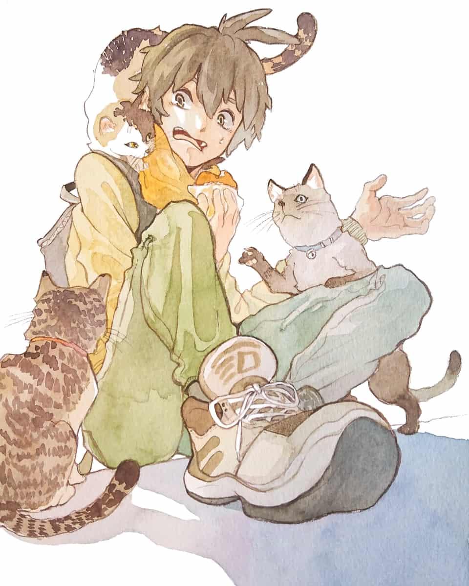 俺たちも食べたいにゃん Illust of 陳田こころ DOGvsCAT_CAT アナログ絵 cat boy illustration watercolor original