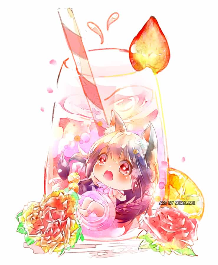 Summer  Illust of shiakushi illustration ice-cream food cute anime drawing beverages drink chibi