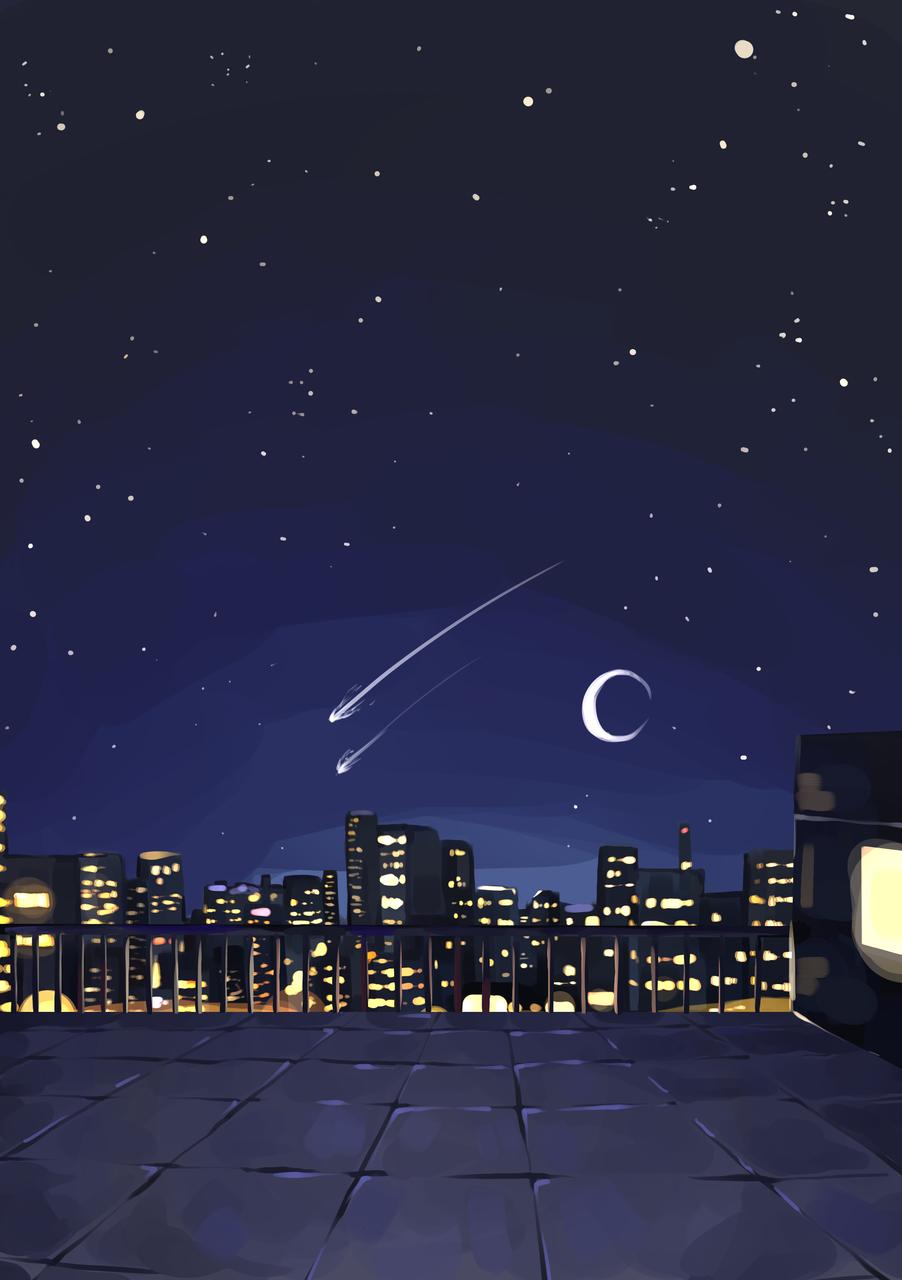Night on a City Rooftop Illust of Mumechi art drawing iPad_raffle cute illustration food