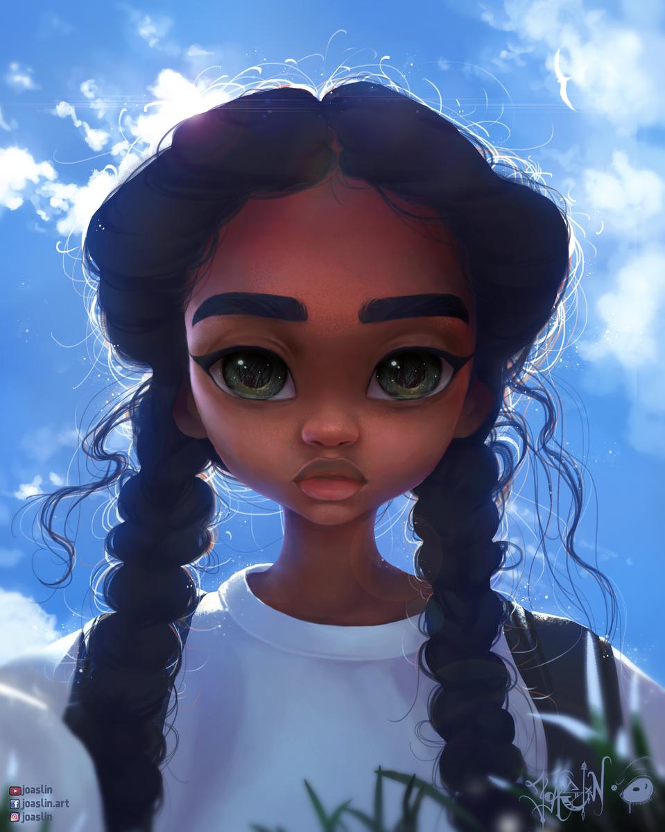 (Hair Hair Hair Hair Hair)😆 Illust of JoAsLiN ARTstreet_Ranking illustration Indian girl eyes digital anime blue hair oc original