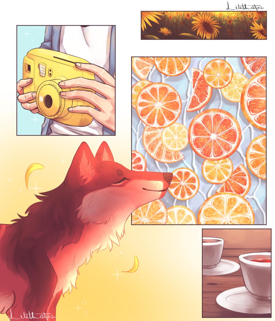 Sunflower Child Illust of Somnvari digital wolf oranges oc illustration MyArt
