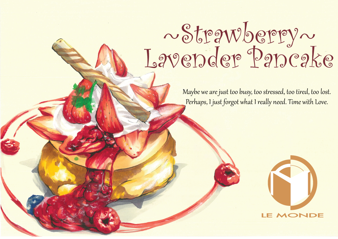 Strawberry Lavender Pancake Illust of LeMondePro October2020_Contest:Food パンケーキ cake pancake strawberry