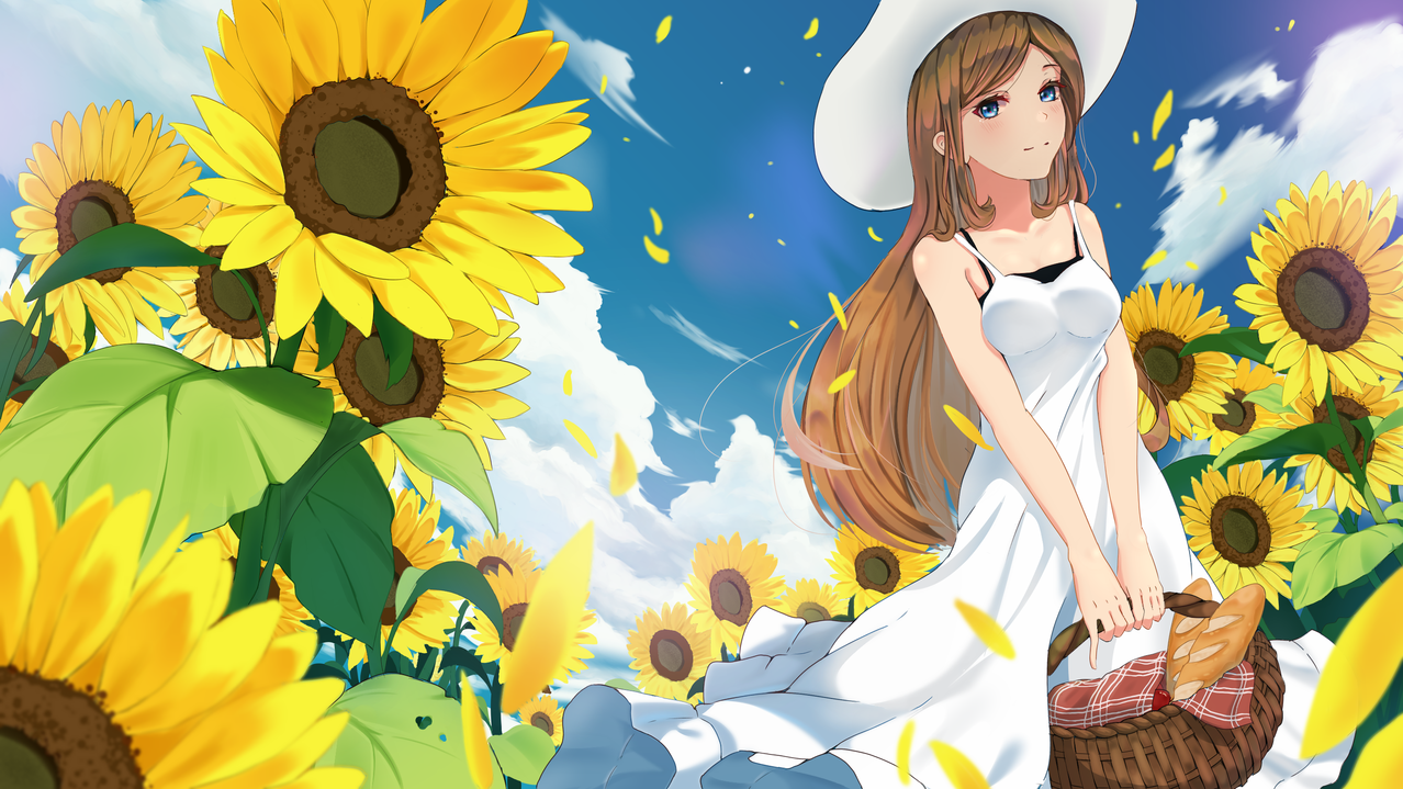Sunny Memories Illust of danuarta9 | bitterline April2021_Flower art girl scenery animegirl medibangpaint illustration sunflower digitalpainting kawaii