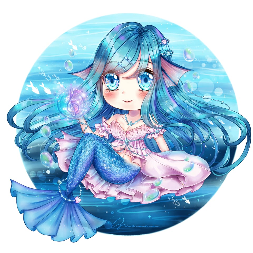 my oc celia~~ Illust of Sumomo February2021_Fantasy chibi illustration animegirl oc cute art cutegirl mermaid digital