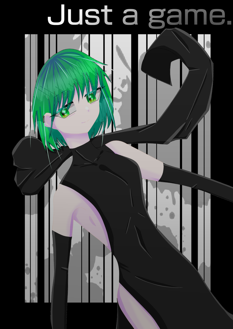 Just a game.  Illust of はな。 medibangpaint girl Justagame GUMI dress VOCALOID スリット green