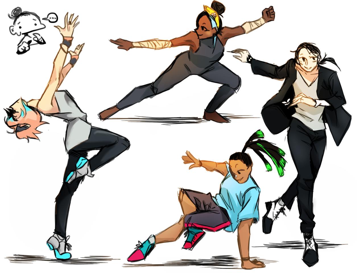 art homework (read desc if you want Illust of -lulu- {Achromatic star} medibangpaint girl dance boy doodle oc