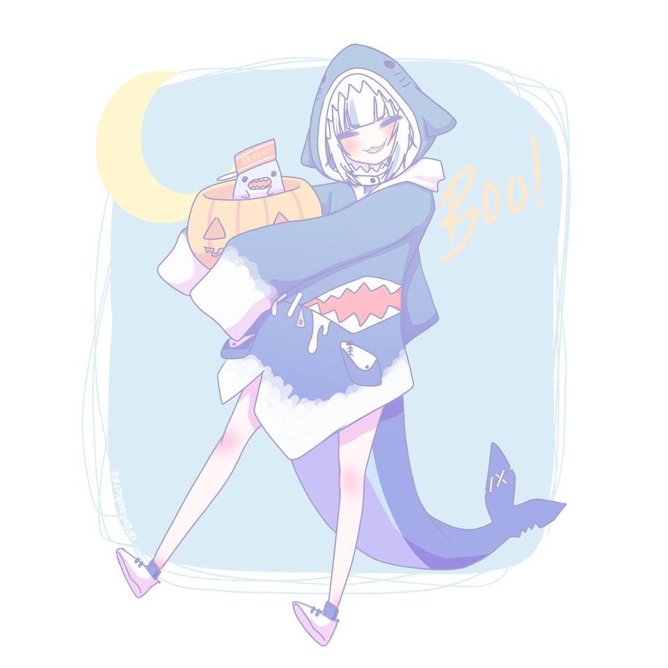 gura halloween Illust of l0sero4 medibangpaint animegirl cute hololiveen GawrGura shark holomyth gura hololive