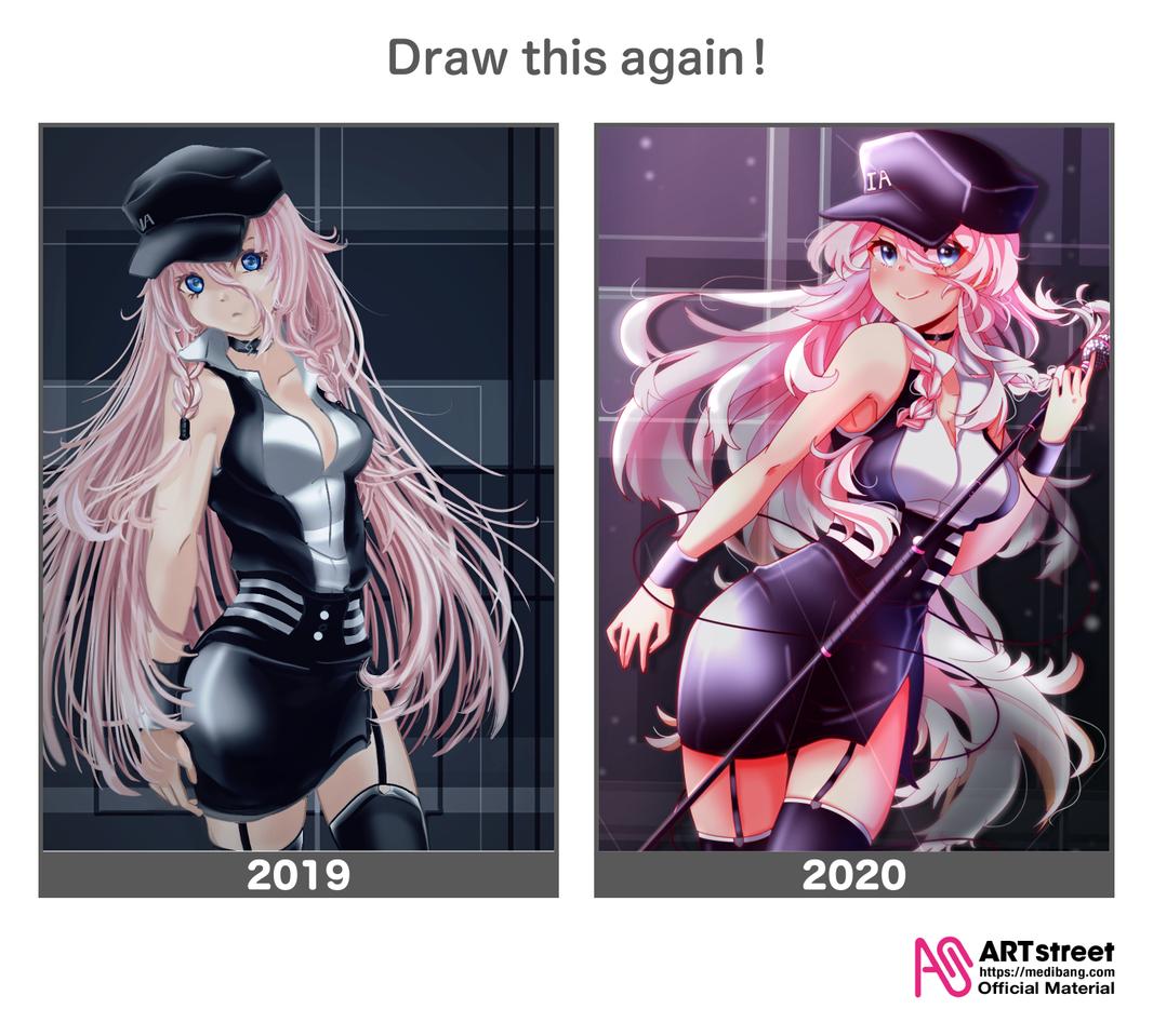 Redraw 2019, 2020 versions Illust of Akira Luca DrawThisAgain IA girl medibangpaint pink VOCALOID fanart digital cute illustration