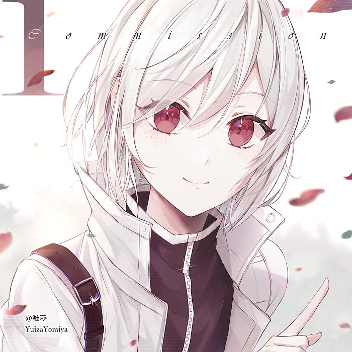白子 Illust of 唯莎 commission girl redeyes original white_hair