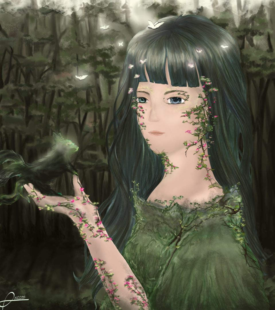 Forest Princess Illust of Den-Art MySecretSocietyContest February2021_Fantasy March2021_Creature magical forest green princess girl contest oc