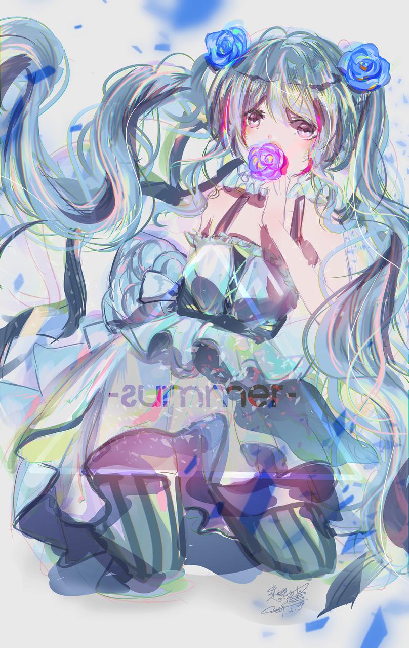 夏 Illust of 戀夢夢 original Personification 閃亮亮 夏日 rose girl 禮服 戀夢夢 藍色