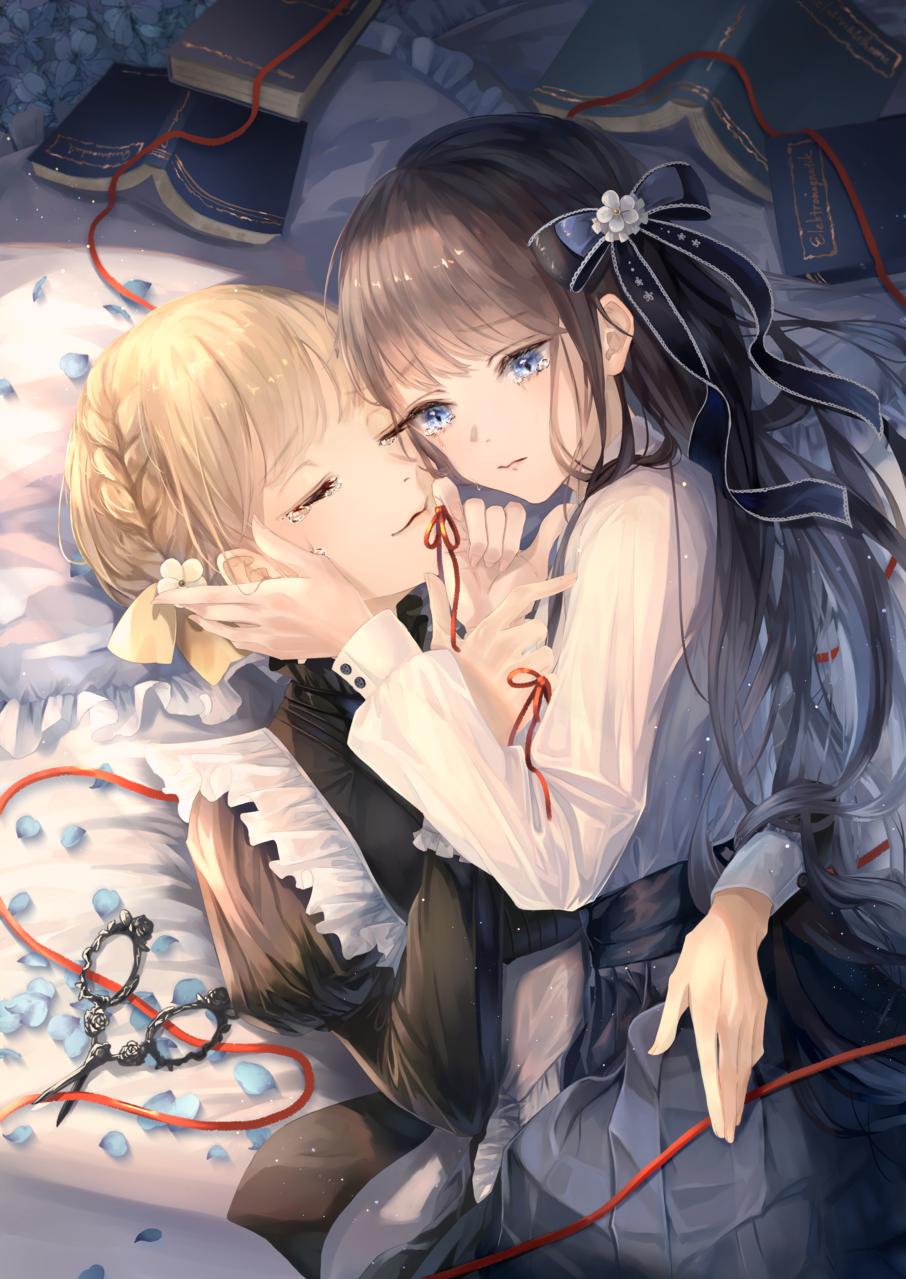 Parting Illust of 稔也 original girl 百合