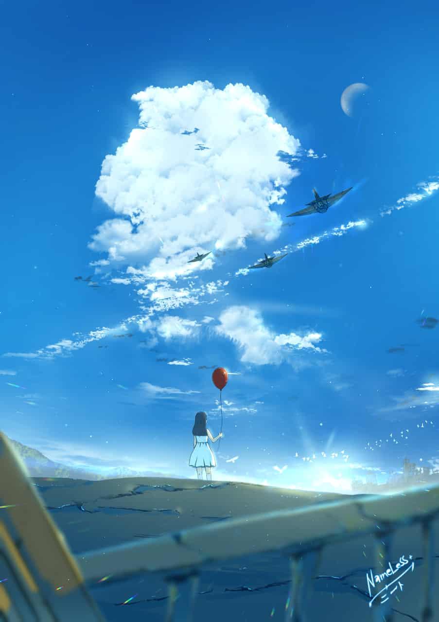 Luftballon Illust of NameLess+NEET🕯️ April.2020Contest:Color 青空 戦争 青い clouds original ジェット戦闘機 日の出 Balloon