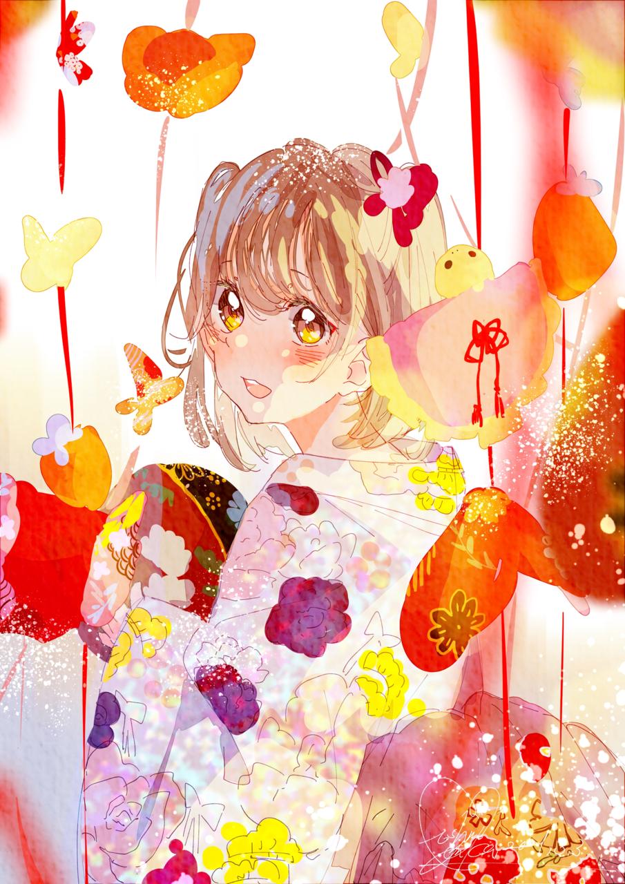 今日だけお姫様 Illust of 星野 ゆか@再浮上 pink kimono お雛様 こども original girl きらきら ひな祭り red